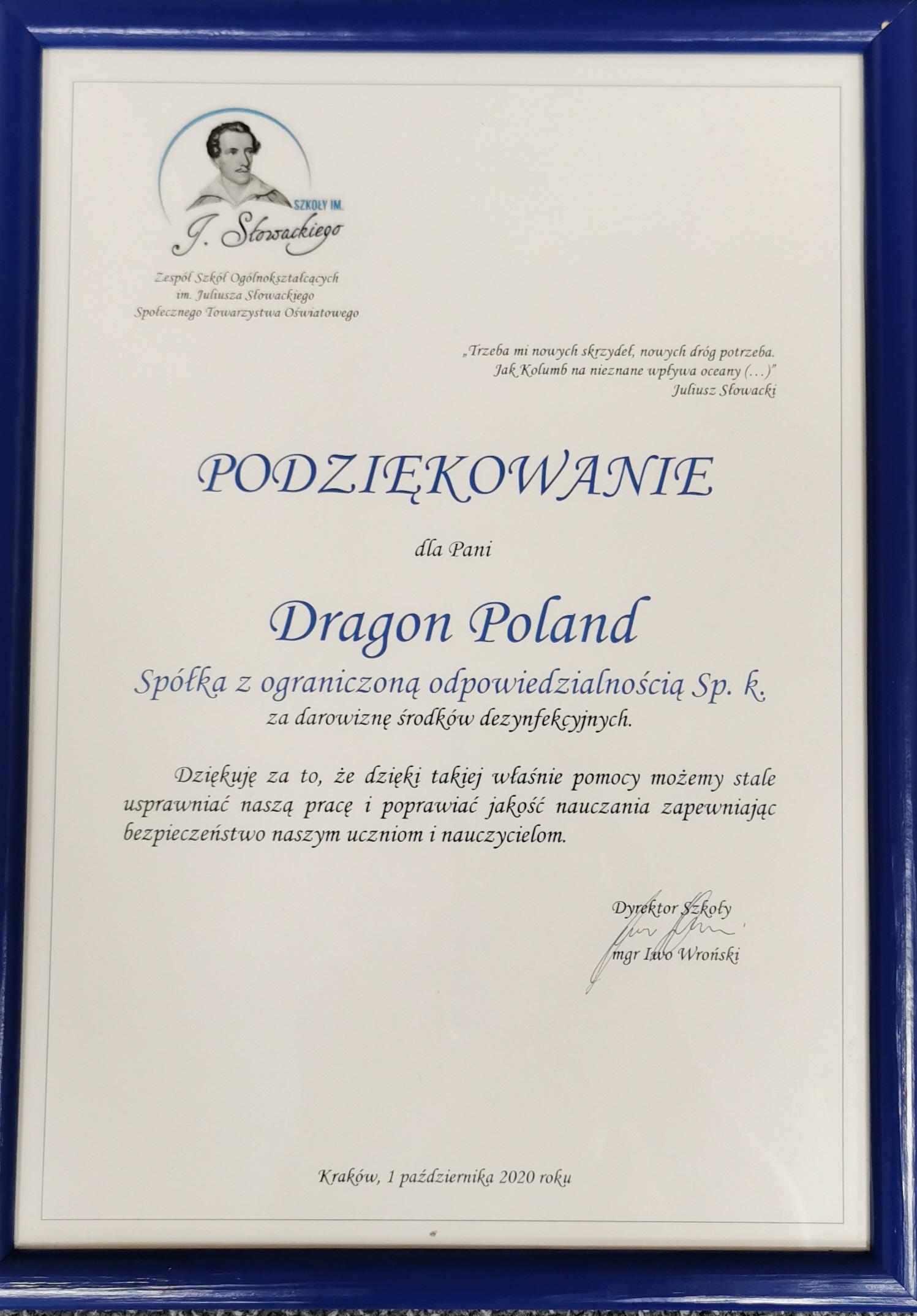 Darowizna dla szkoły im. Juliusza Słowackiego w Krakowie