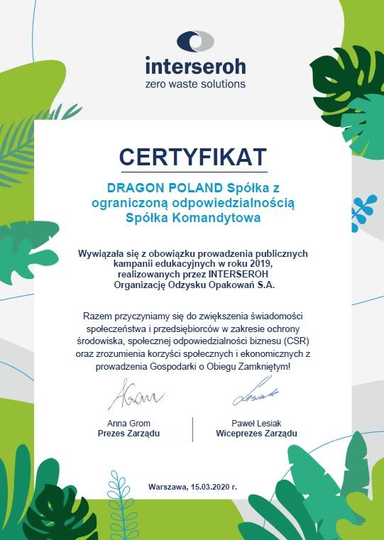 Certyfikat dla Dragon Poland