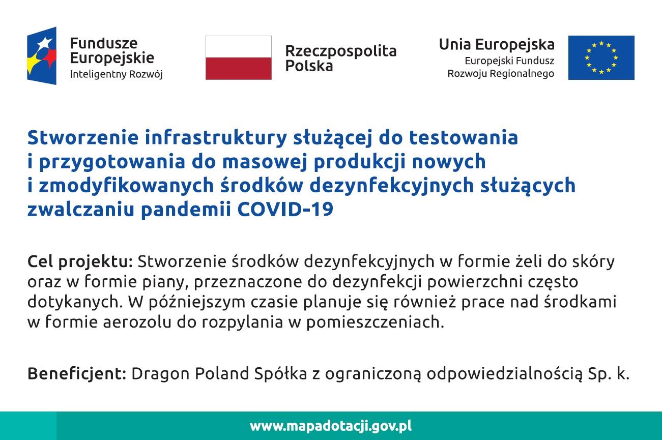 Stworzenie infrastruktury do produkcji nowych i zmodyfikowanych środków dezynfekcyjnych służących zwalczaniu pandemii COVID-19